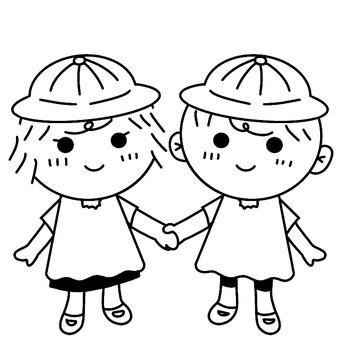 保育で使う子どもが手を繋ぐイラスト01