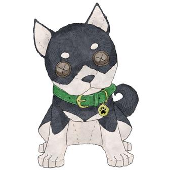 Dog (Black Shiba Inu) animal stuffed toy illustration