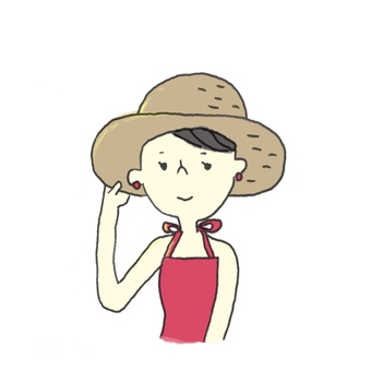 Straw hat and red dress