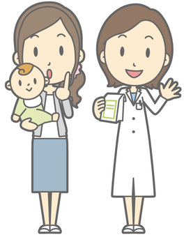 Pharmacist and patient - Child friendly mother - whole body
