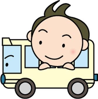 Boy riding a bus
