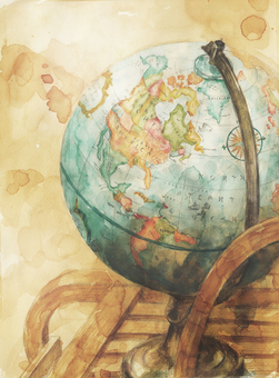 World globe watercolor painting realistic