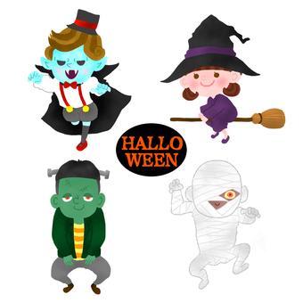 Halloween Dracula Witch Franken Mummy