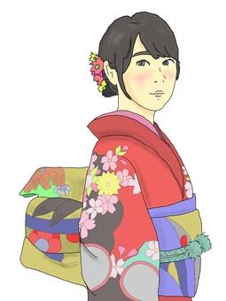 A woman in kimono
