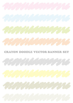 Banner set drawn with crayons