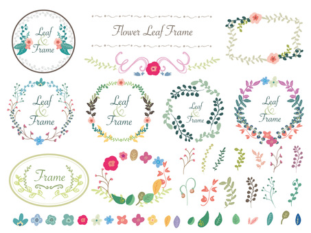 Handwriting style flower & leaf frame