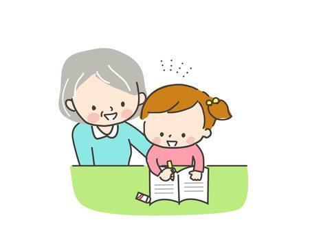 勉強する子供と見守るおばあちゃん3