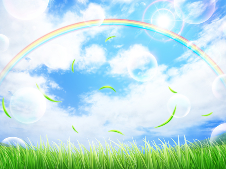 Lawn blue sky rainbow leaf background wallpaper · frame