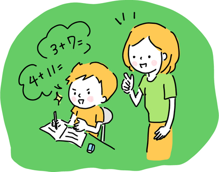 勉強する子供と教える大人
