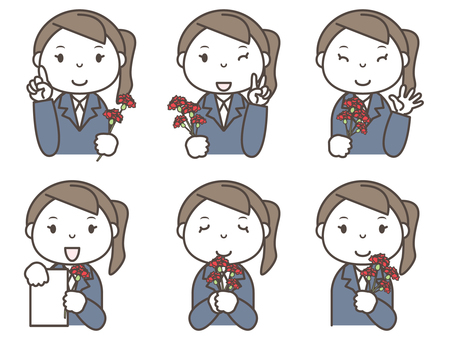 Women with carnation 6 patterns