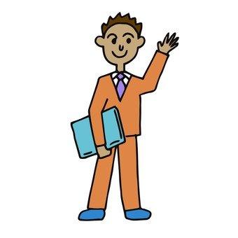 Employee raising hands