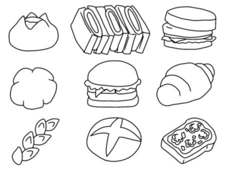 Bread, confectionery bread (monochrome)