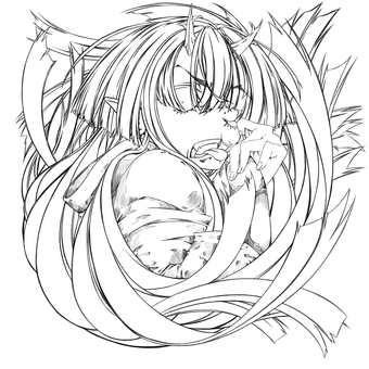Kashima Maehi, Akanbe (line drawing)