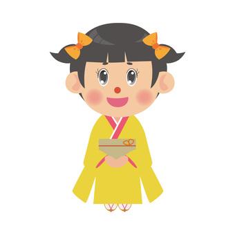 A woman in a kimono (twin tail)