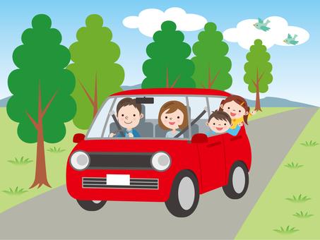 與家人一起開車