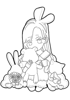 Plush and girl coloring