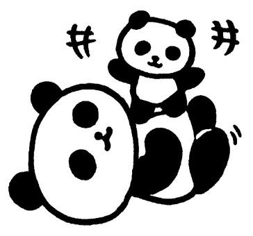 Pompon panda on the stomach (monochrome)