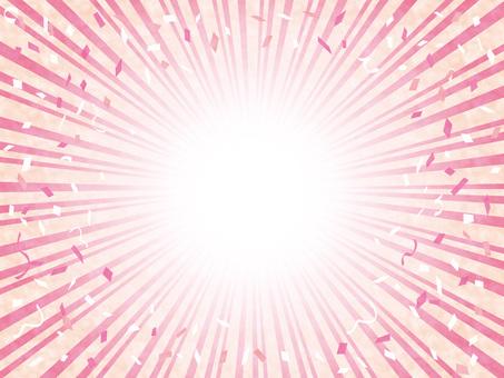 背景集中線ラインフレーム飾り枠紙吹雪桃色