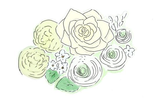 White celebration flower Rose · Ranunculus · peony pill