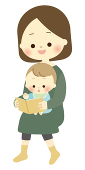 Parent and child reading picture book