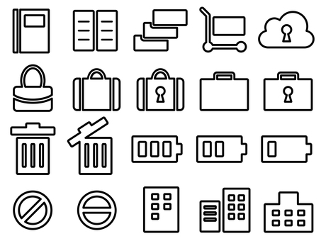 Icon set for bags, notes, carts, etc.