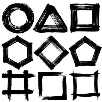 ○ △ □ Polygon handwriting brush illustration