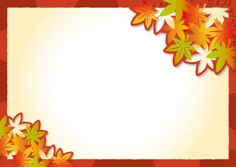 紅葉の切り絵風フレーム_A02
