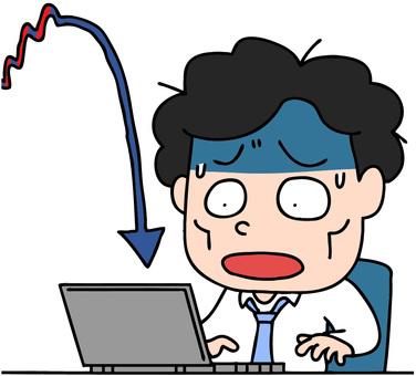 株の暴落で青くなる男性