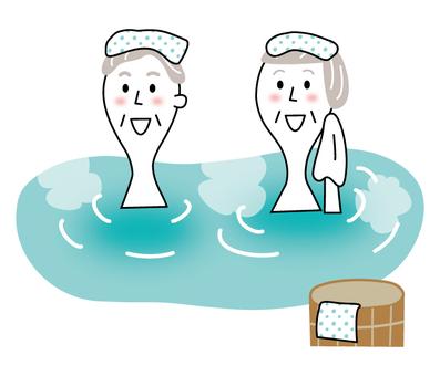 年長的夫婦進入溫泉_線描