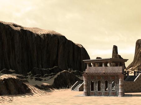 在沙漠中的寺廟