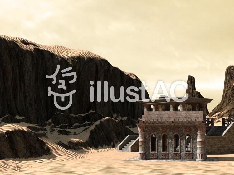 砂漠の神殿のイラスト