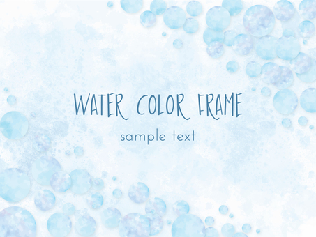 Watercolor style soap background frame (blue)