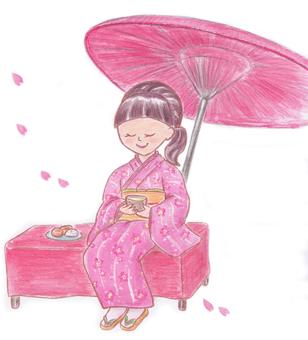 A woman resting at a tea room