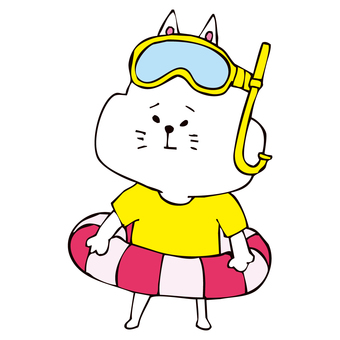 Cat wearing a float and goggles