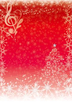 세로 우아한 음표있는 크리스마스 카드 레드