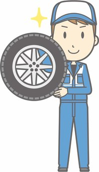 Mechanic male a - tire - whole body