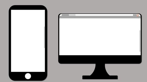 스마트 폰과 PC의 간단한 일러스트