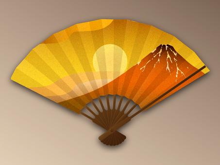 Fan gold leaf wind red Fuji with sunrise shadow