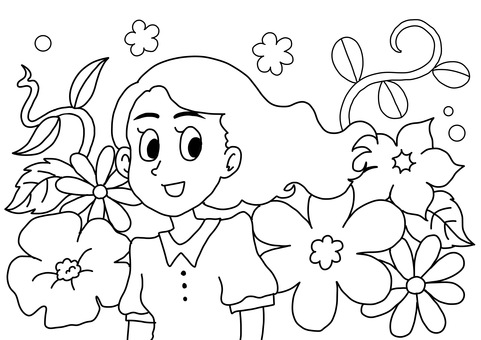 Coloring book with flowers and woman