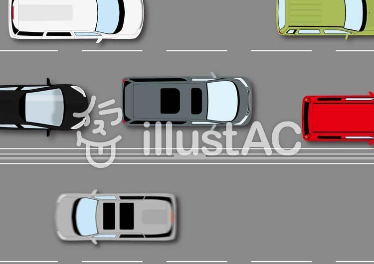 渋滞する高速道路のイラスト