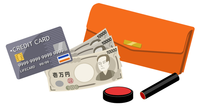 Long wallet, credit card, seal and cash (orange