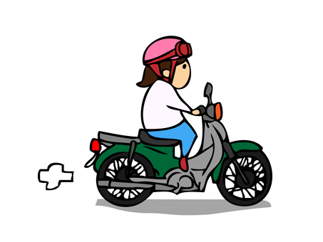 A woman on a motorcycle