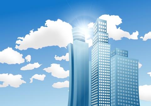 Backlighted office building frame · Blue sky sideways