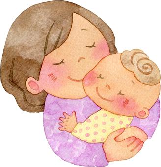 媽媽抱著嬰兒