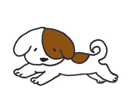 走ってる犬のイラスト