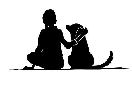 妇女和狗(剪影)