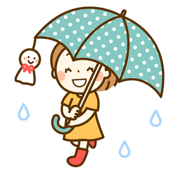 A girl holding an umbrella and a Teru shabu