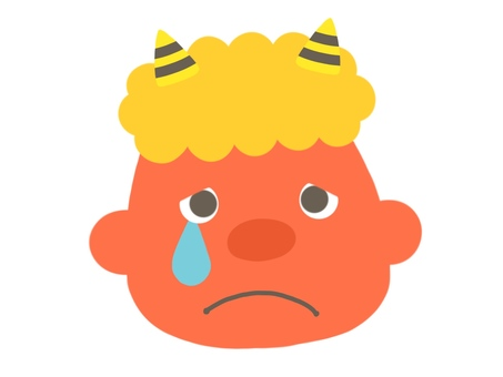 Cute red demon's face crying face