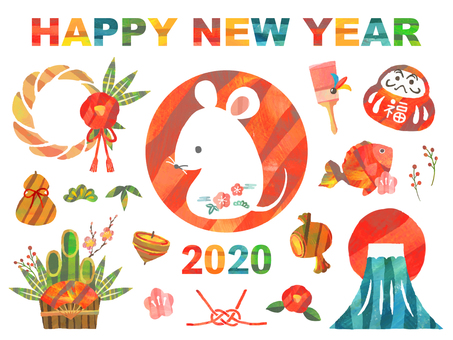 New Year's card 2020 child year icon set