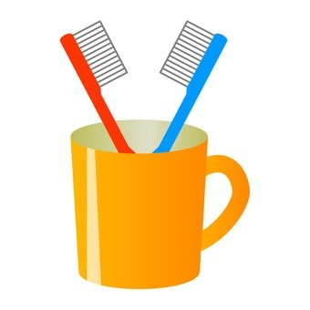 Cup and toothbrush